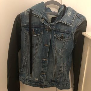 Jean jacket with leather sleeves and hood